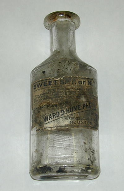 MEDICINE bottle was found in the attic when the house was moved in Sam Houston Park in 2002.
