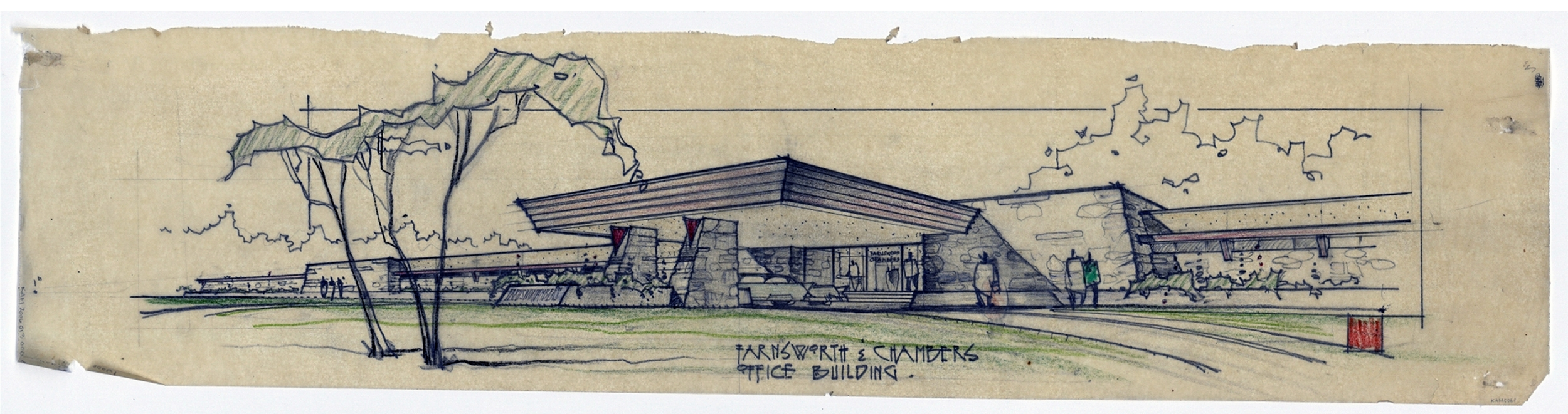 Perspective drawing by architectural firm MacKie & Kamrath shows the vast horizontal planes and the natural materials that evoke Frank Lloyd Wright's architectural principles.
