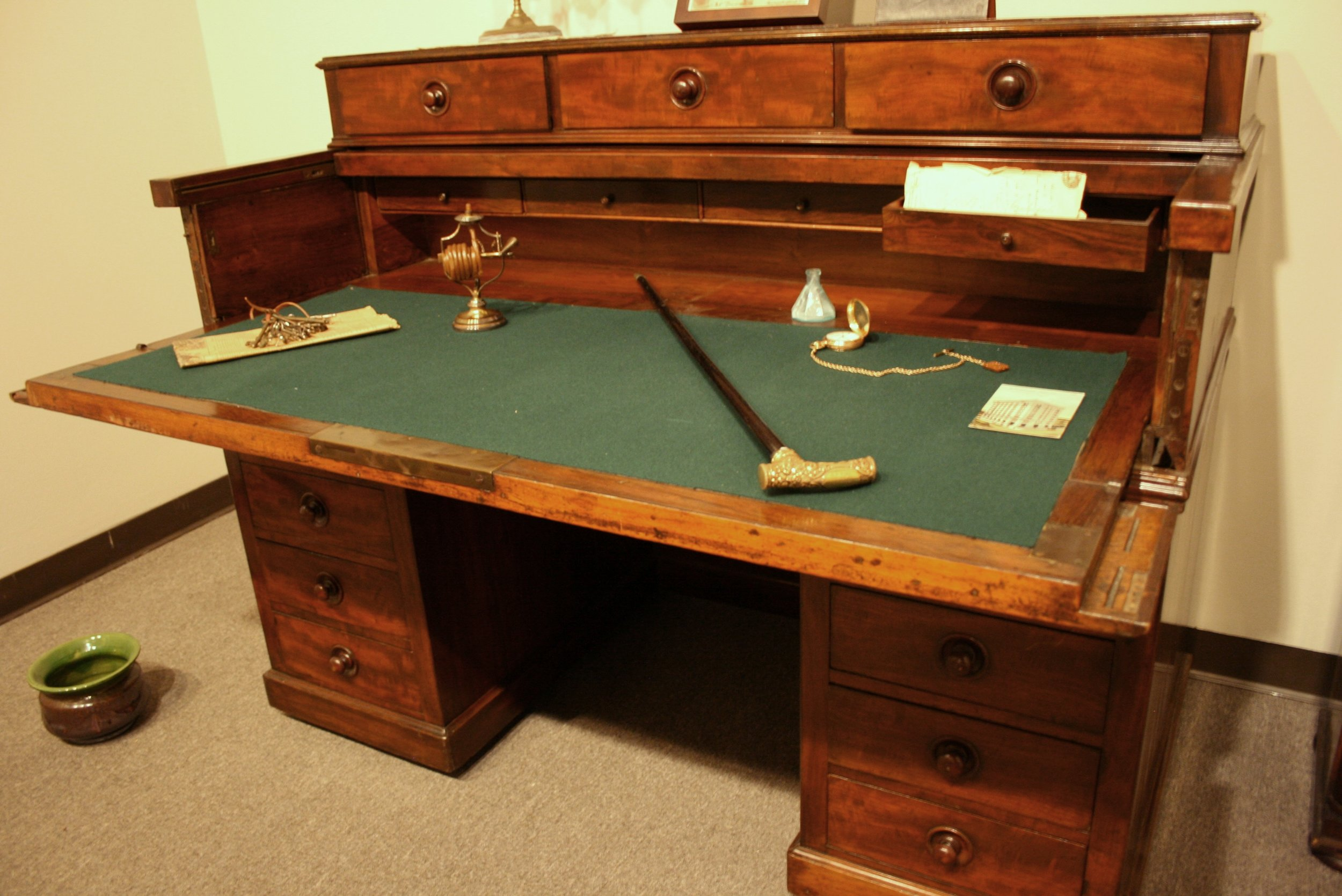 This desk was used by B. A. Shepherd during his tenure as President of the First National Bank in Houston.  The Heritage Society Permanent Collection