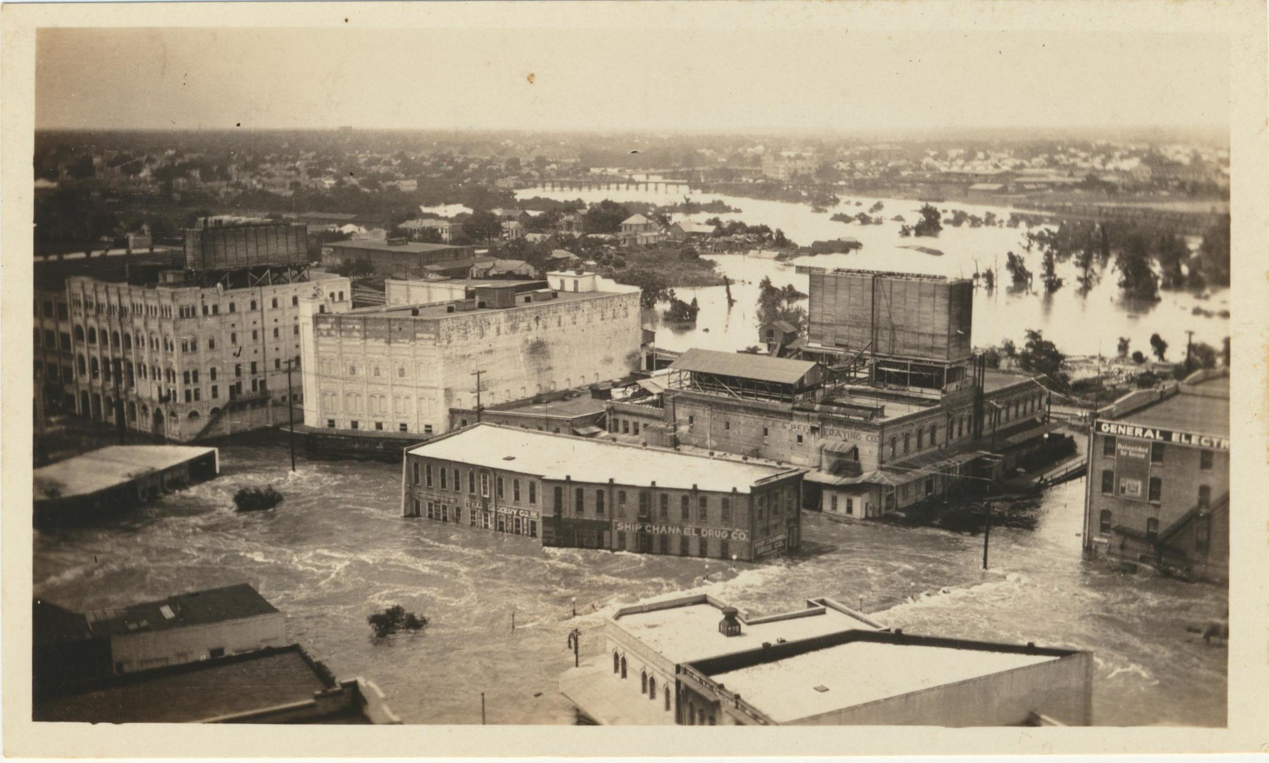 May 31, 1929 flood-this photo illustrates how the waters of buffalo bayou inundated downtown houston.