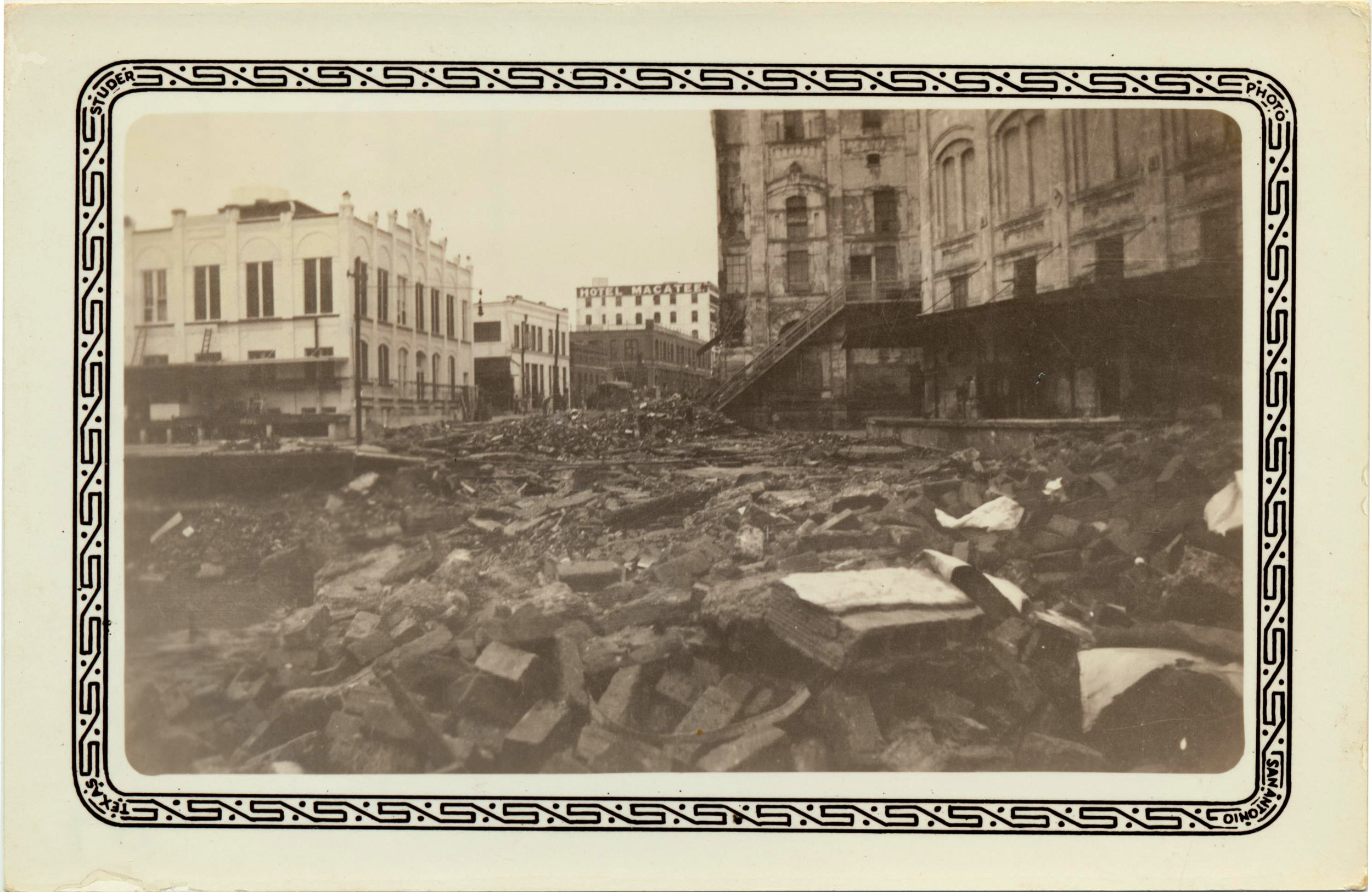 December 11, 1935- This photo shows washington Avenue ripped apart by flood waters.