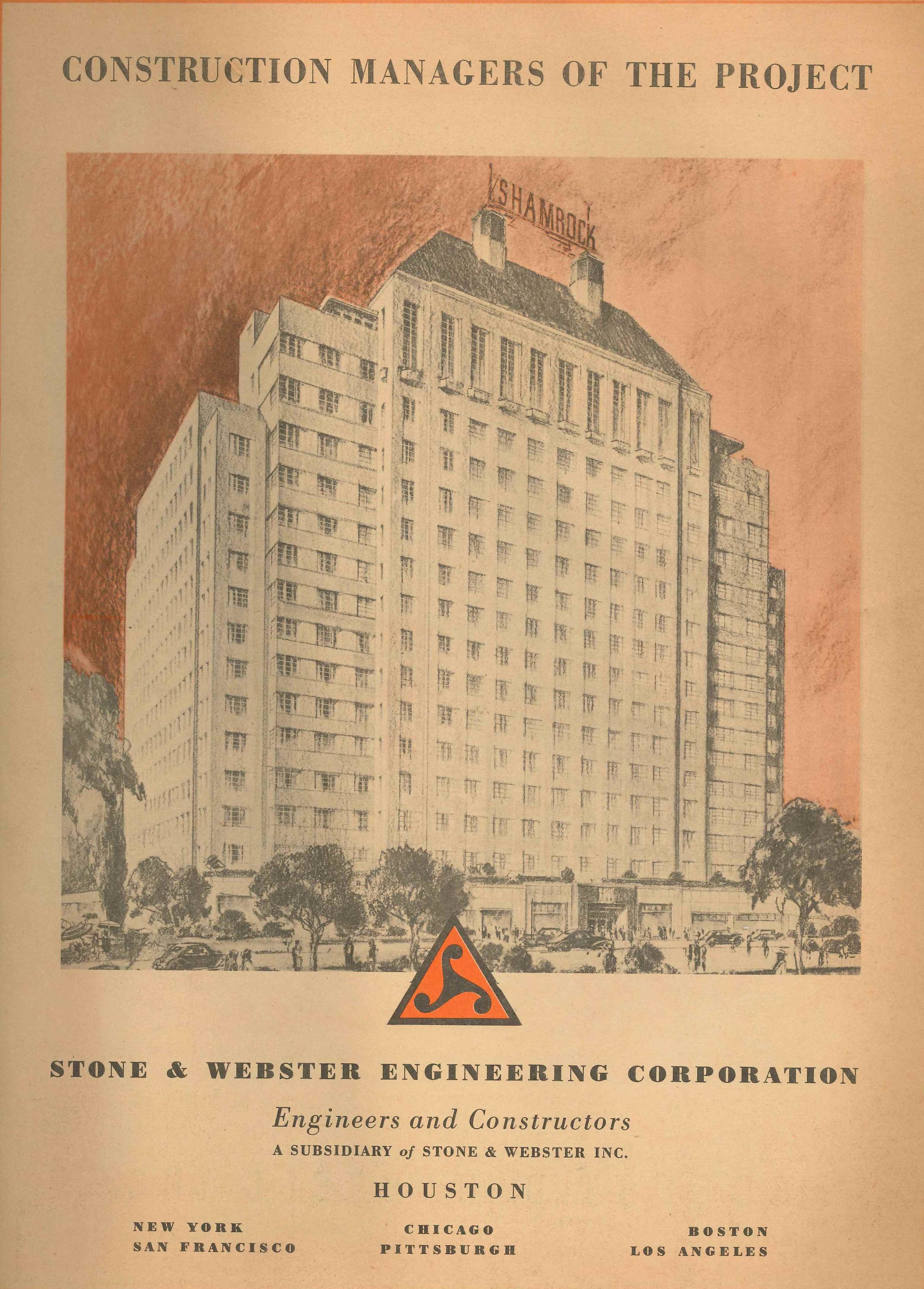 Drawing of the exterior of The Shamrock Hotel from  The Citizen Newspapers  special Shamrock superlative edition.  The Heritage Society Permanent Collection.