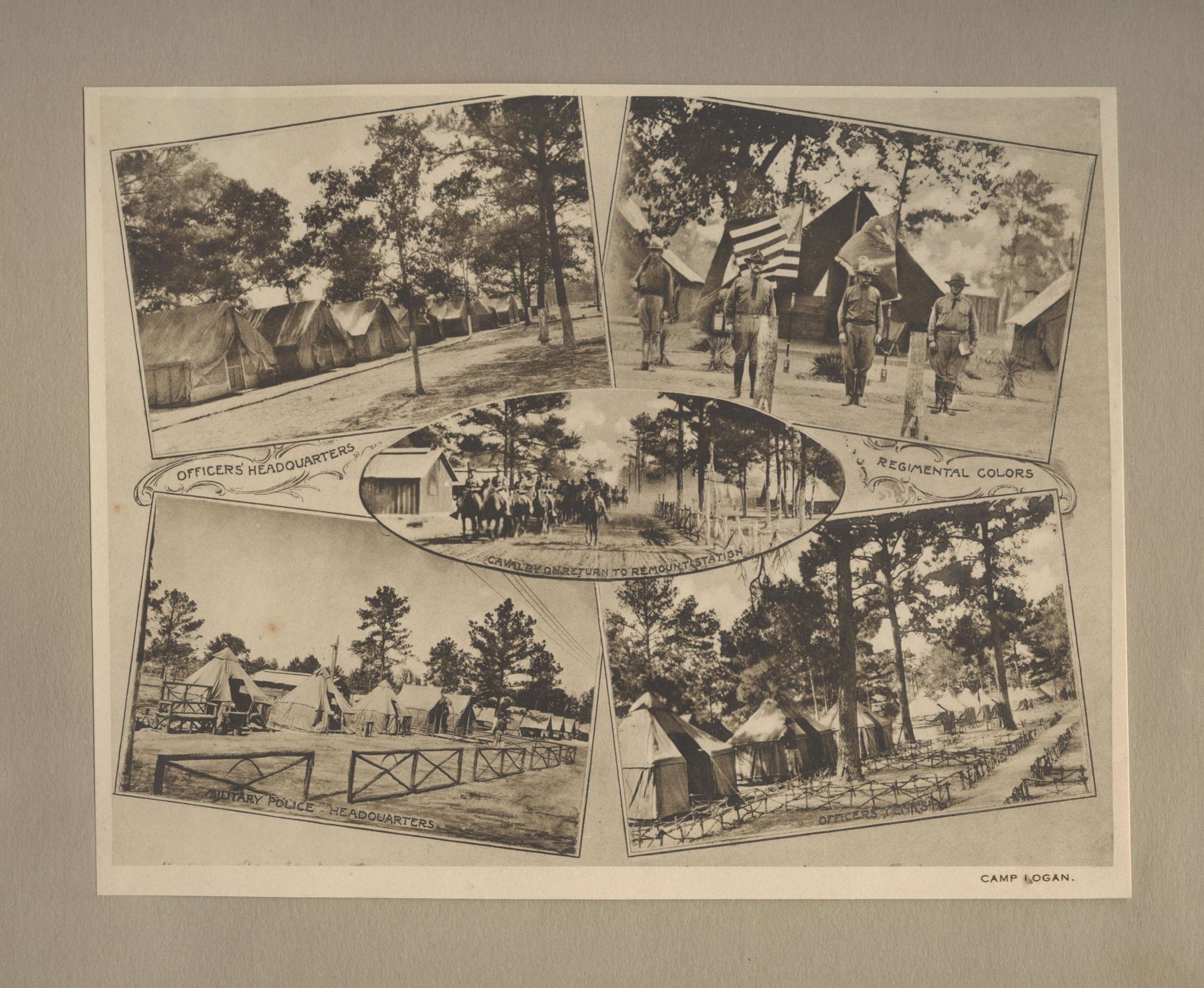 These images of the camp are from Houston and Picturesque Camp Logan, published by Schaeffer Photo Supply Co., Houston, Texas. The Albertype Co. Brooklyn N. Y. circa 1918. The Heritage Society Permanent Collection. Gift of Pat Alexander. Post card image of the Street Scene gift of Donna Fowler.