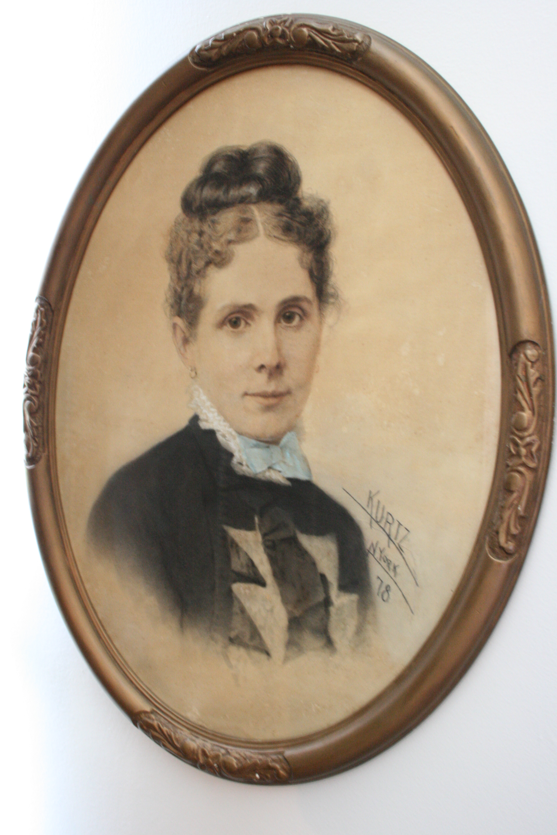 William D. Cleveland's wife Justina Latham's portrait from The Heritage Society permanent collection.