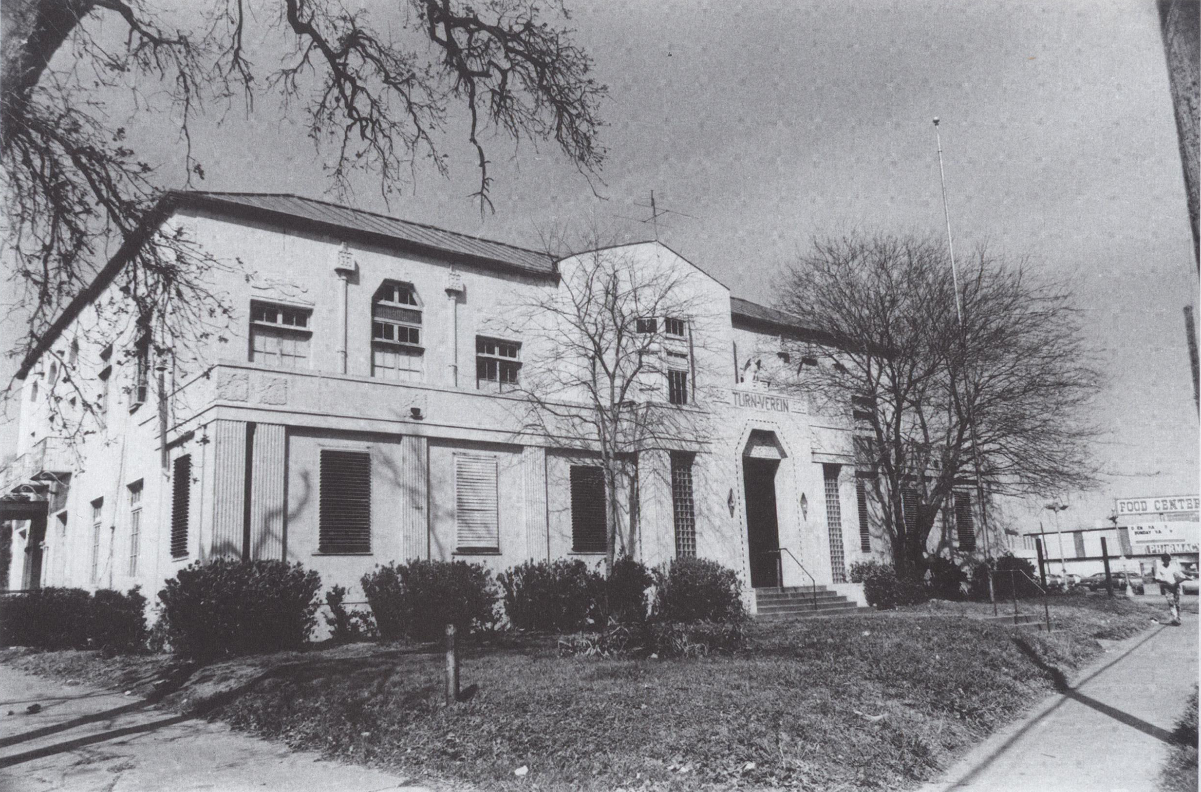 designed by architect Joseph Finger, the Turnverein Clubhouse stood at 5502 Almeda Road. An acknowledged local Art Moderne landmark, The Building was destroyed in 1993. Courtesy HMRC, Houston Public Library.