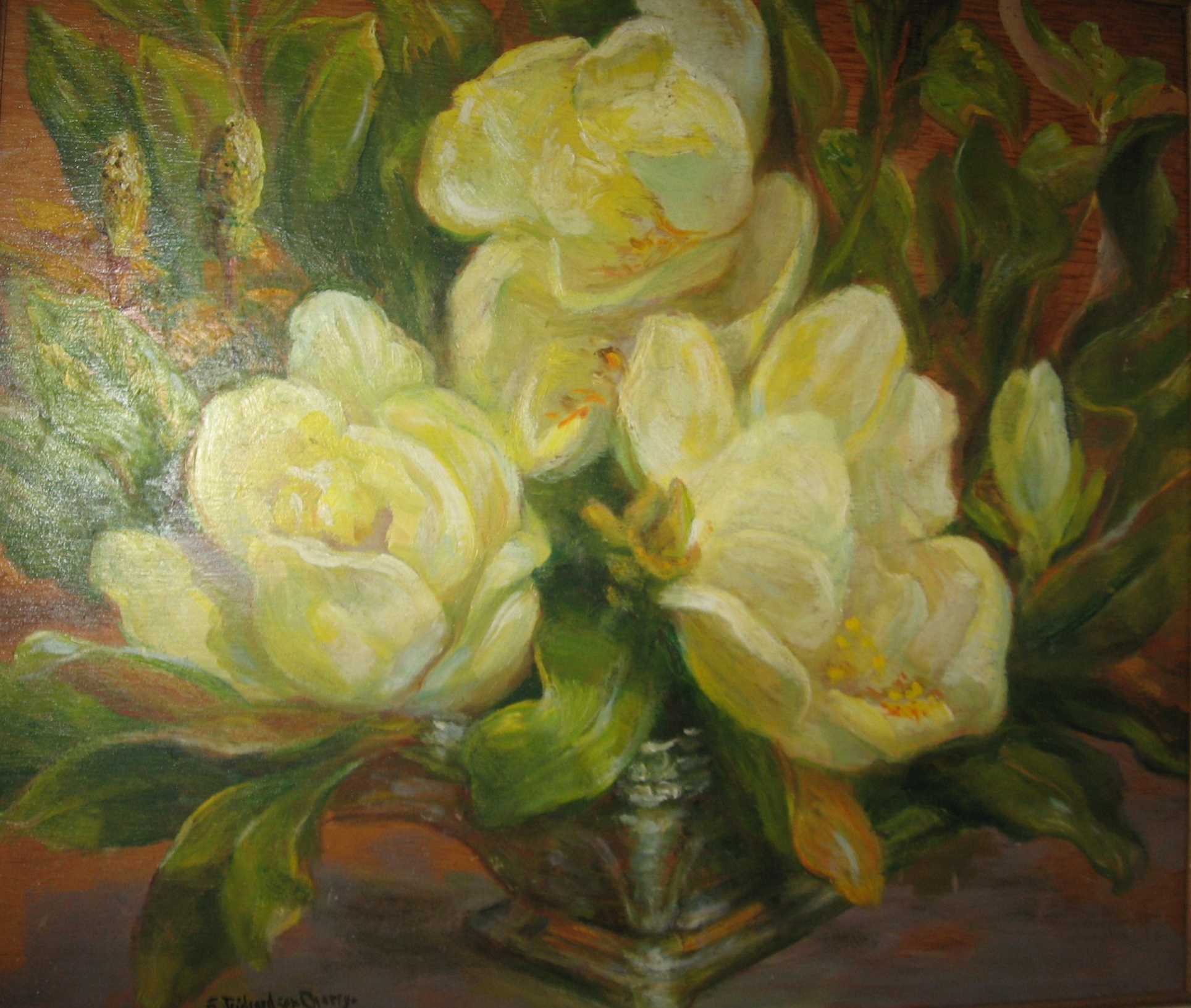Oil Painting of Magnolias in a Bowl, THS Permanent collection