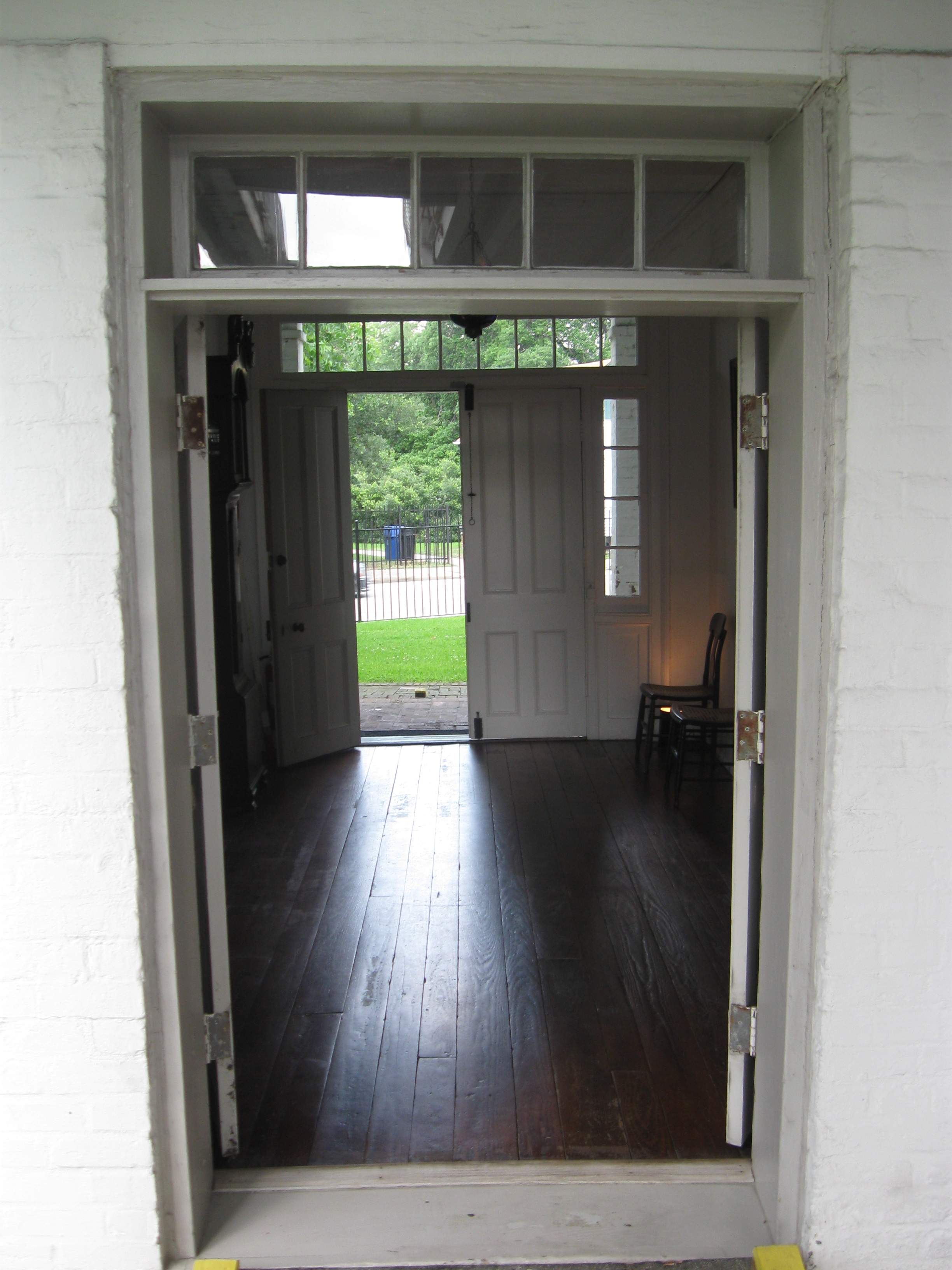Center hall of the Kellum-Noble House. Doors on either end allowed for cross ventilation.