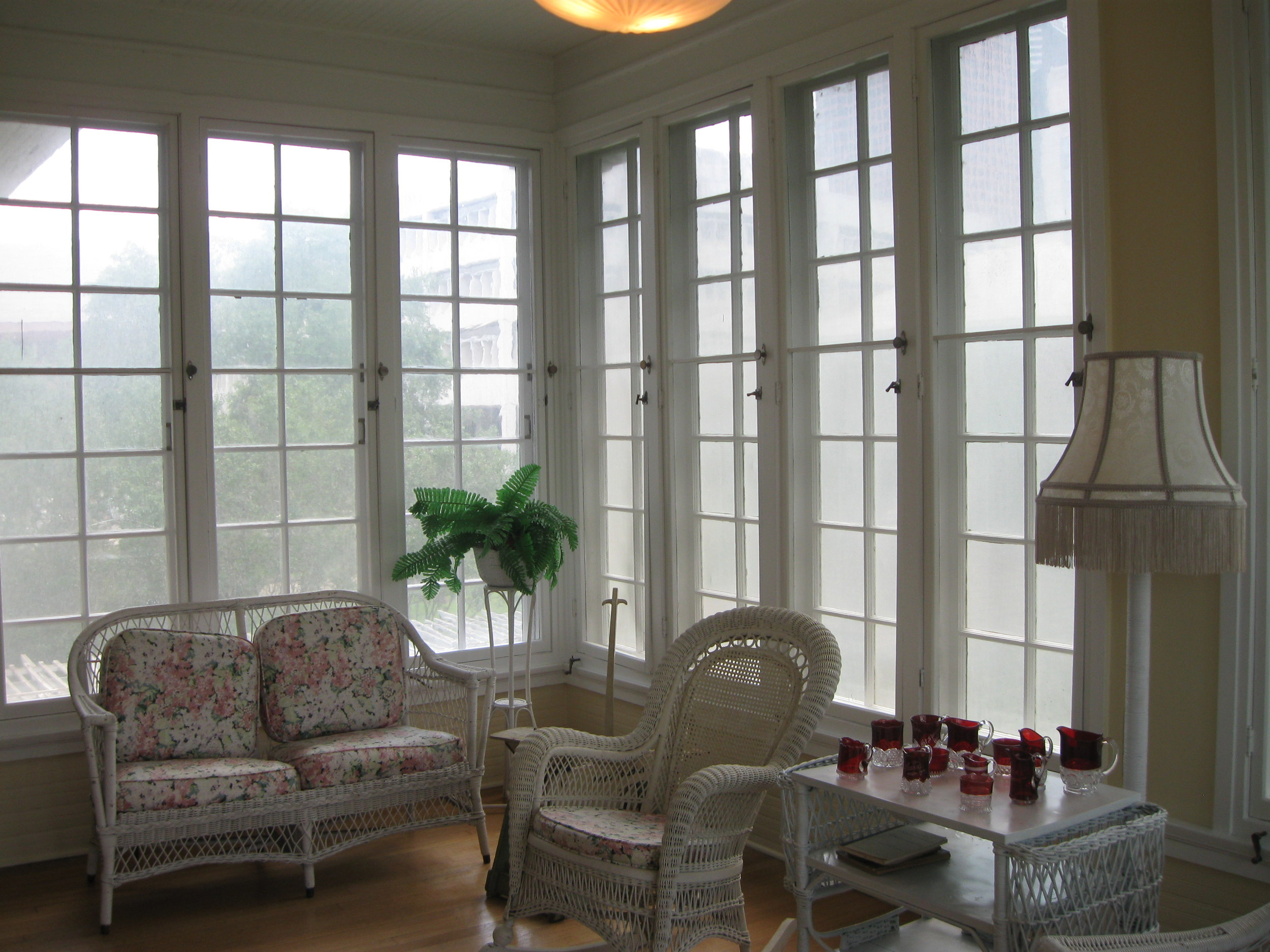 Sun room at the Staiti House. Windows were opened to allow breezes to pass through.