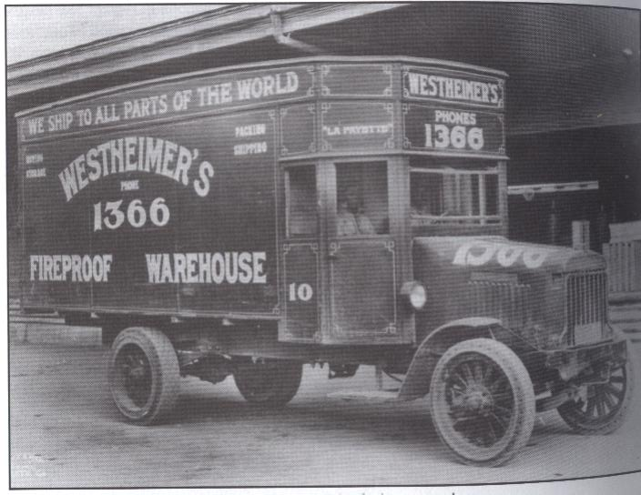 Westheimer's moving truck, courtesy of Houston Metropolitan Research Center, Houston Public Library