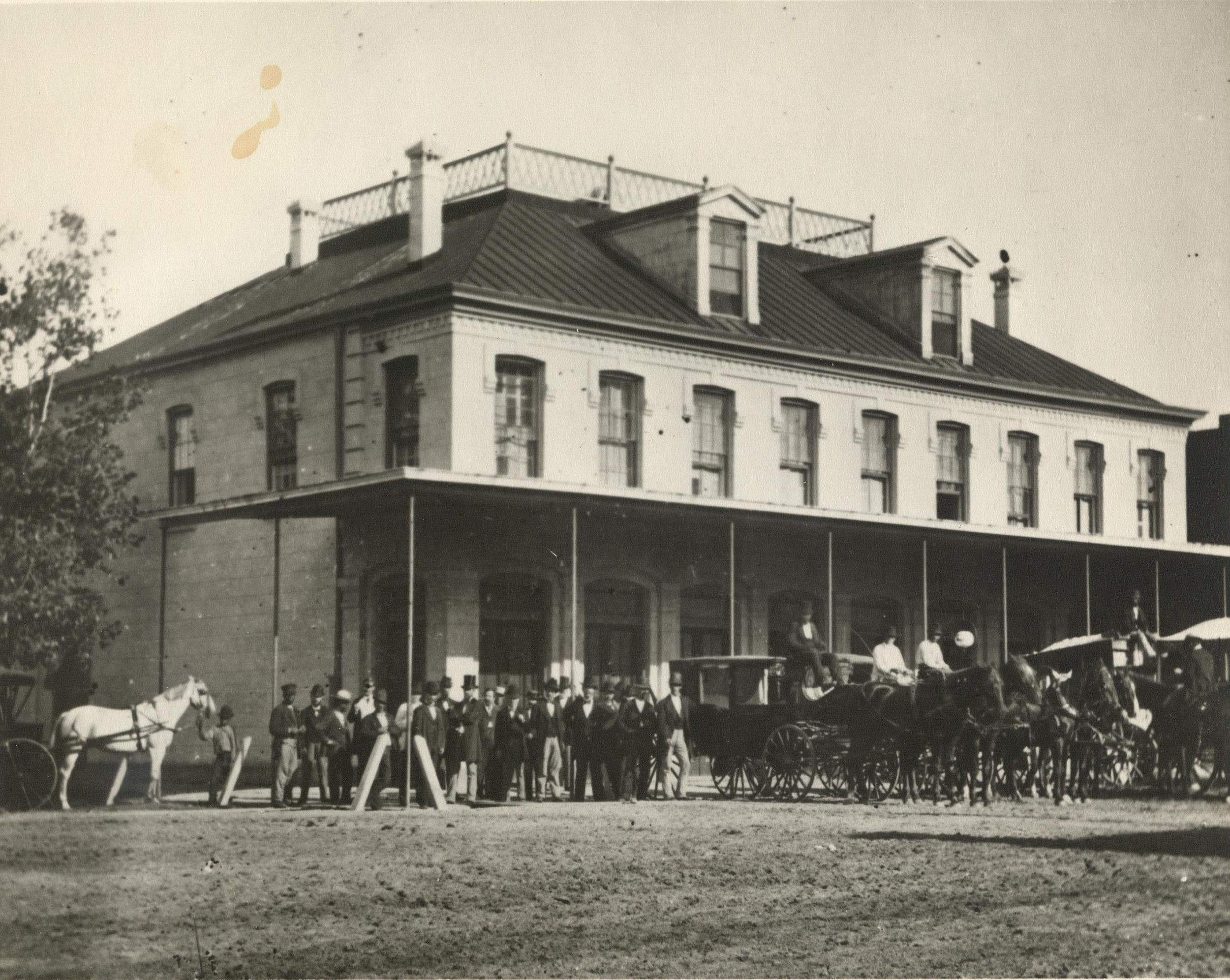 The Capitol Hotel was located in a building that first served as the capitol building for the Republic of Texas. The building stood from 1847 to 1881.  Photograph: The Heritage Society Permanent Collection