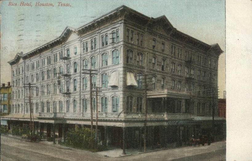 The Rice Hotel was first located in an older building on the same site, built circa 1881.  Postcard: The Heritage Society Permanent Collection