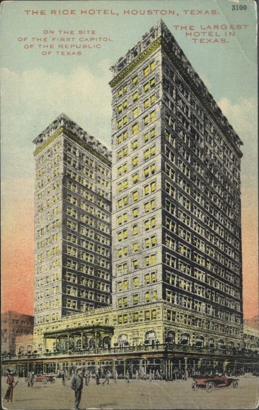 The current Rice Hotel building was constructed in 1912-1913 with only two wings.  Postcard: The Heritage Society Permanent Collection