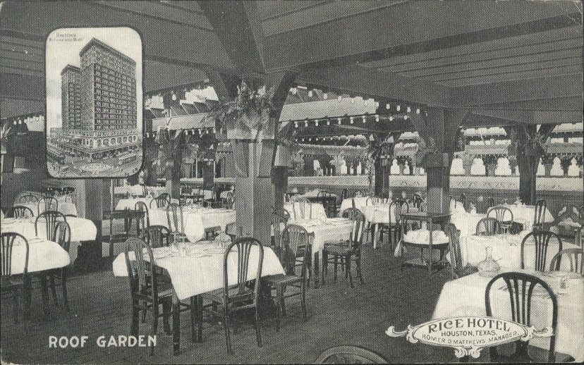 The open-air roof garden, enclosed in the 1940s, was a popular destination for Houstonians in the hotel's earlier years.  Postcard: The Heritage Society Permanent Collection