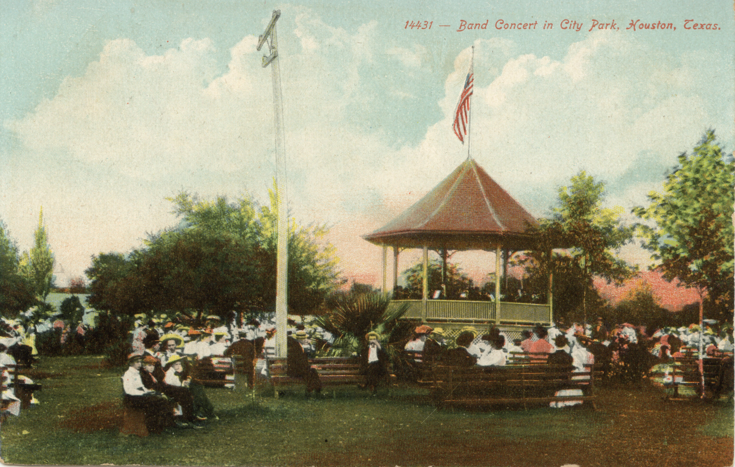 The original bandstand in Sam Houston Park stood from 1901 to 1915 and was a popular setting for free concerts and other activities. Image: Permanent Collection of The Heritage Society.