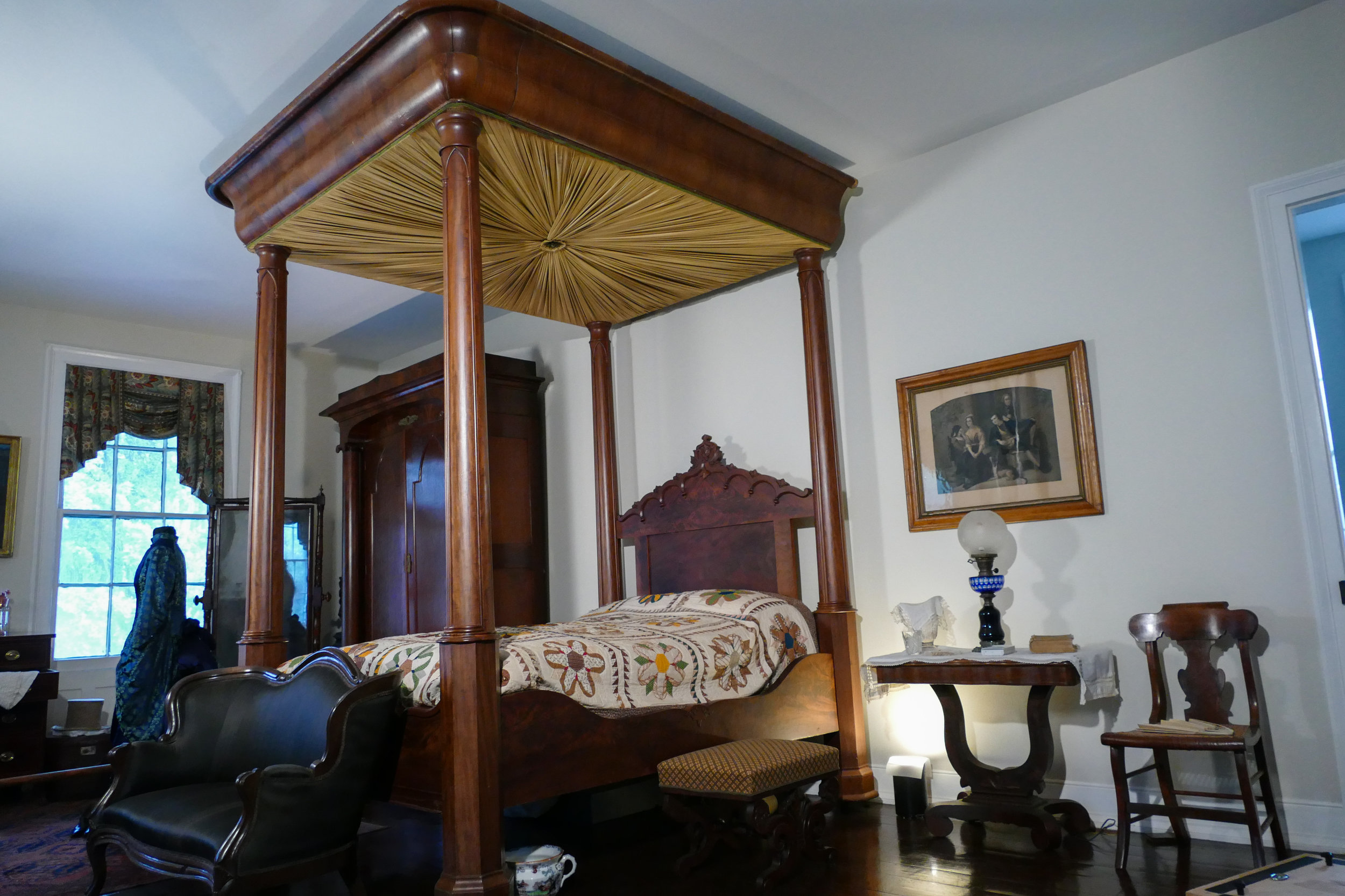 19th century Four poster bed with tester, Nichols-Rice Cherry House, Permanent collection of The Heritage Society