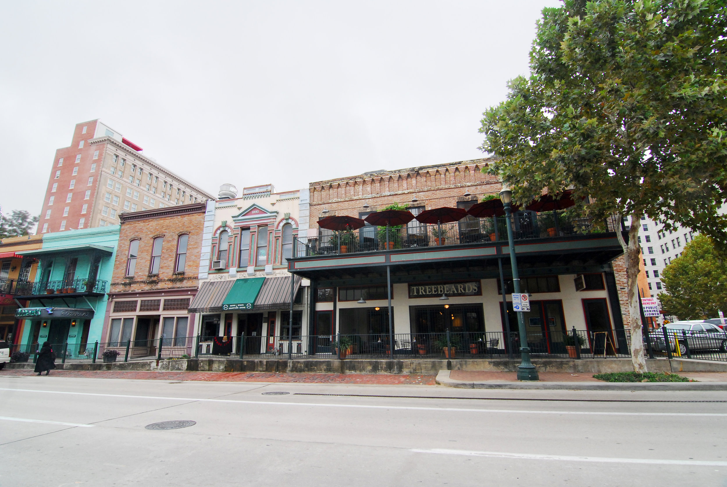 The Baker-Meyer Building still stands near the corner of Travis and Preston Streets on a row of historic commercial buildings facing Market Square Park.