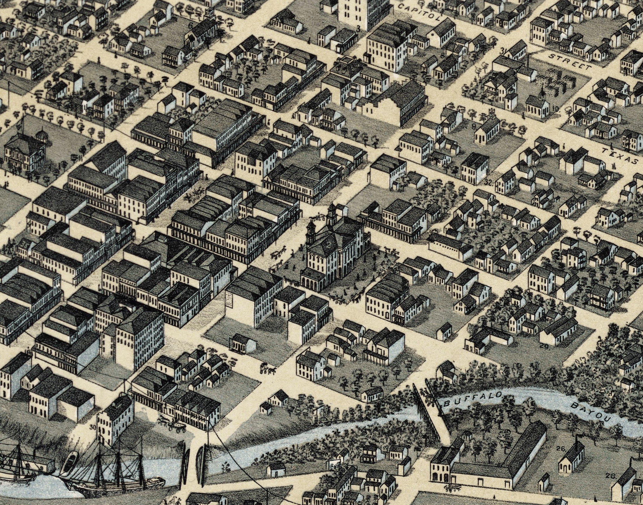 This detail from Augustus Koch's 1873 Birdy-Eye Map of Houston depicts a bustling Market Square, center. The Baker-Meyer Building, then only three years old, is visible across the street from the City Hall and Market House buildings at the left.