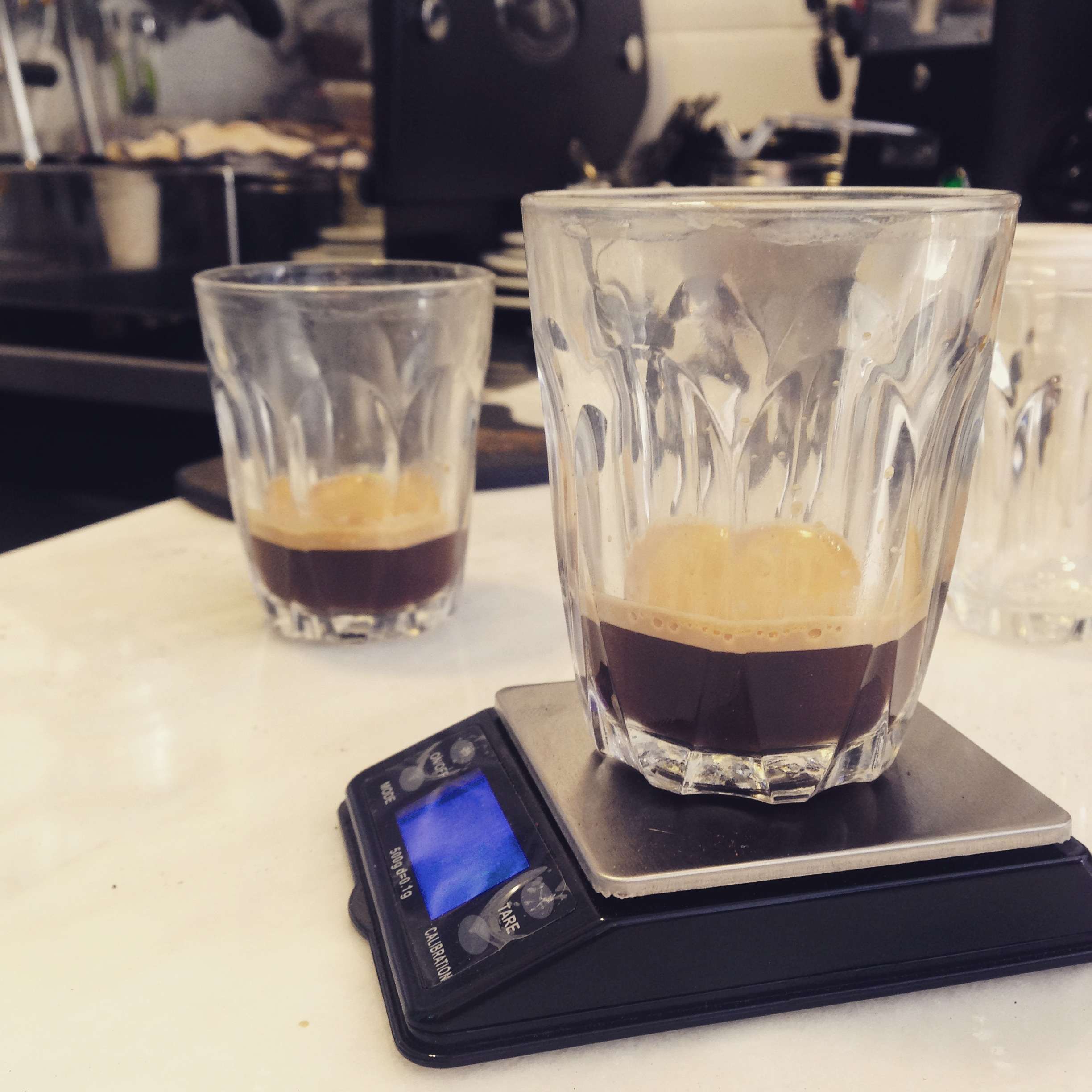 KFE Testing shots coffee