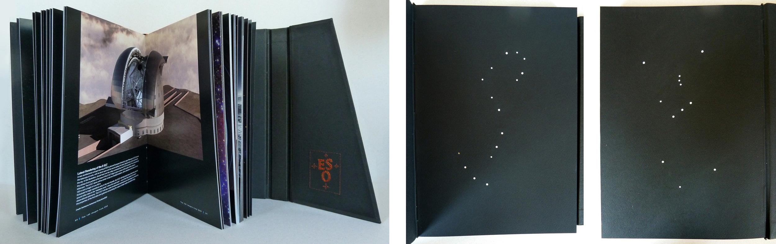 Vista de una de las páginas del libro; a la derecha, las hojas de guarda, con las constelaciones de Escorpión y de Orión (las tres estrellas centrales de ésta última son las que llamamos en Chile 'las tres Marías')