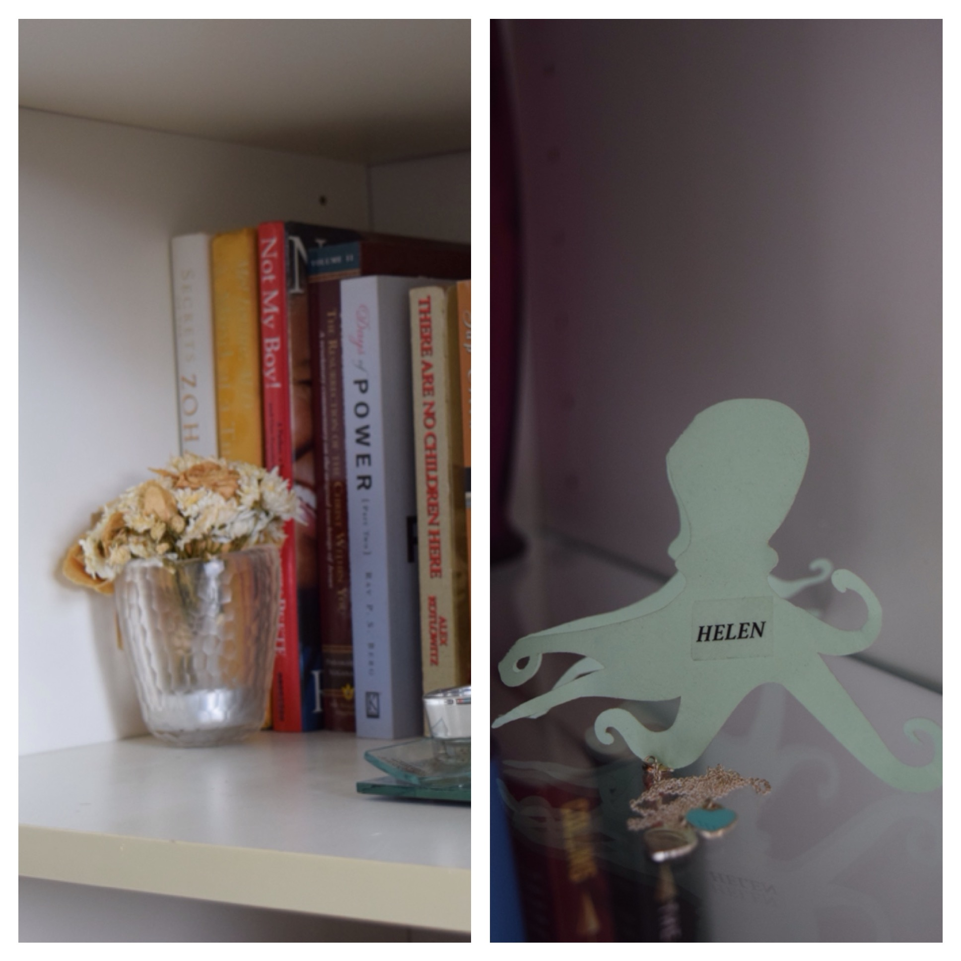 Left: Some of the flowers from my Maid of Honor bouquet. Right: My place card from the wedding and a gift from Alma.