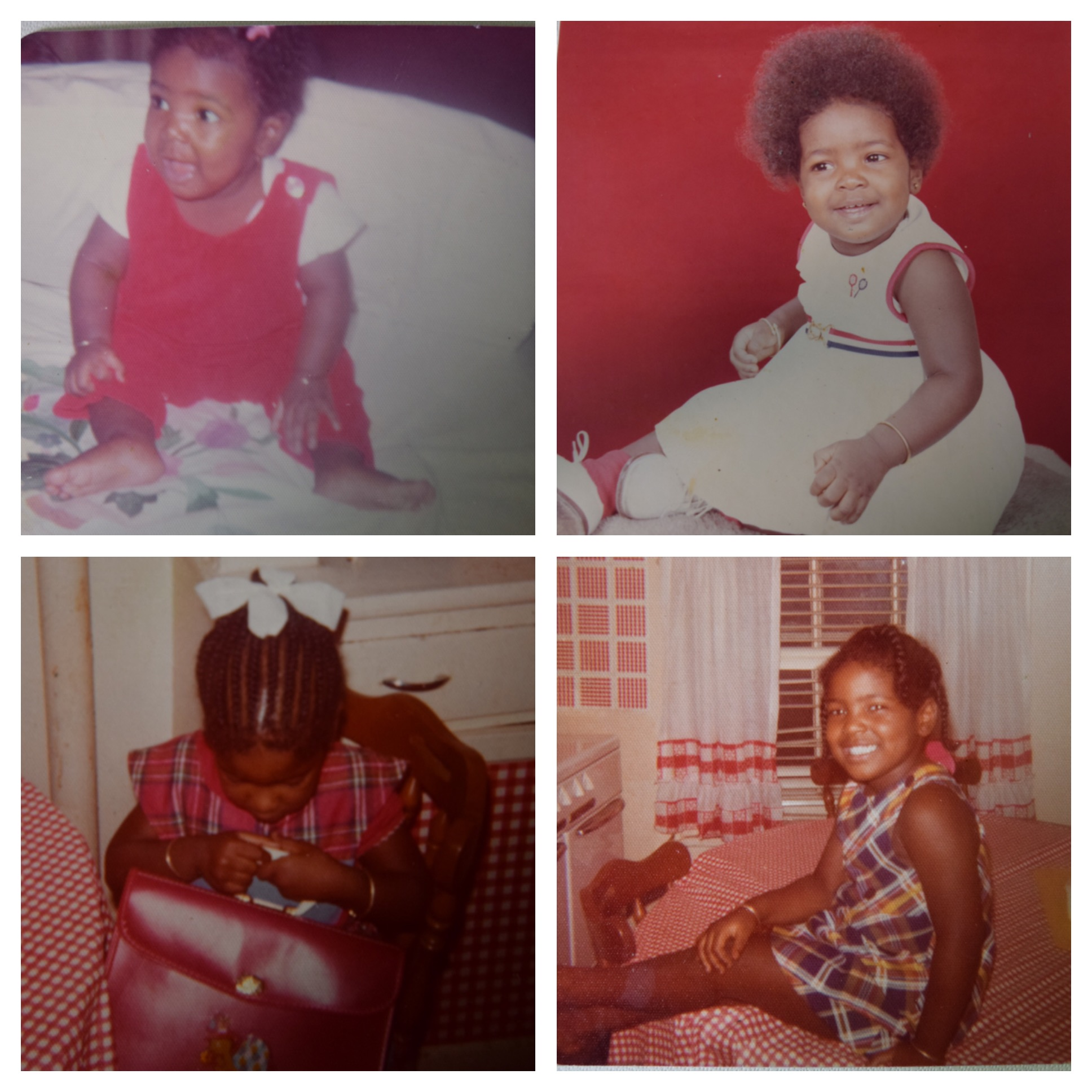 Top Left:  Months old and being propped up with pillows. I couldn't sit up on my own but that didn't stop me from wearing my bracelets.  Top Right:  This picture was taken on my first birthday.  Bottom Left:  Admiring my new bag.  Bottom Right:  Chilling out on the kitchen table. In every picture I have from the age of just a few months old through age five or six, I literally wore those bracelets everyday!