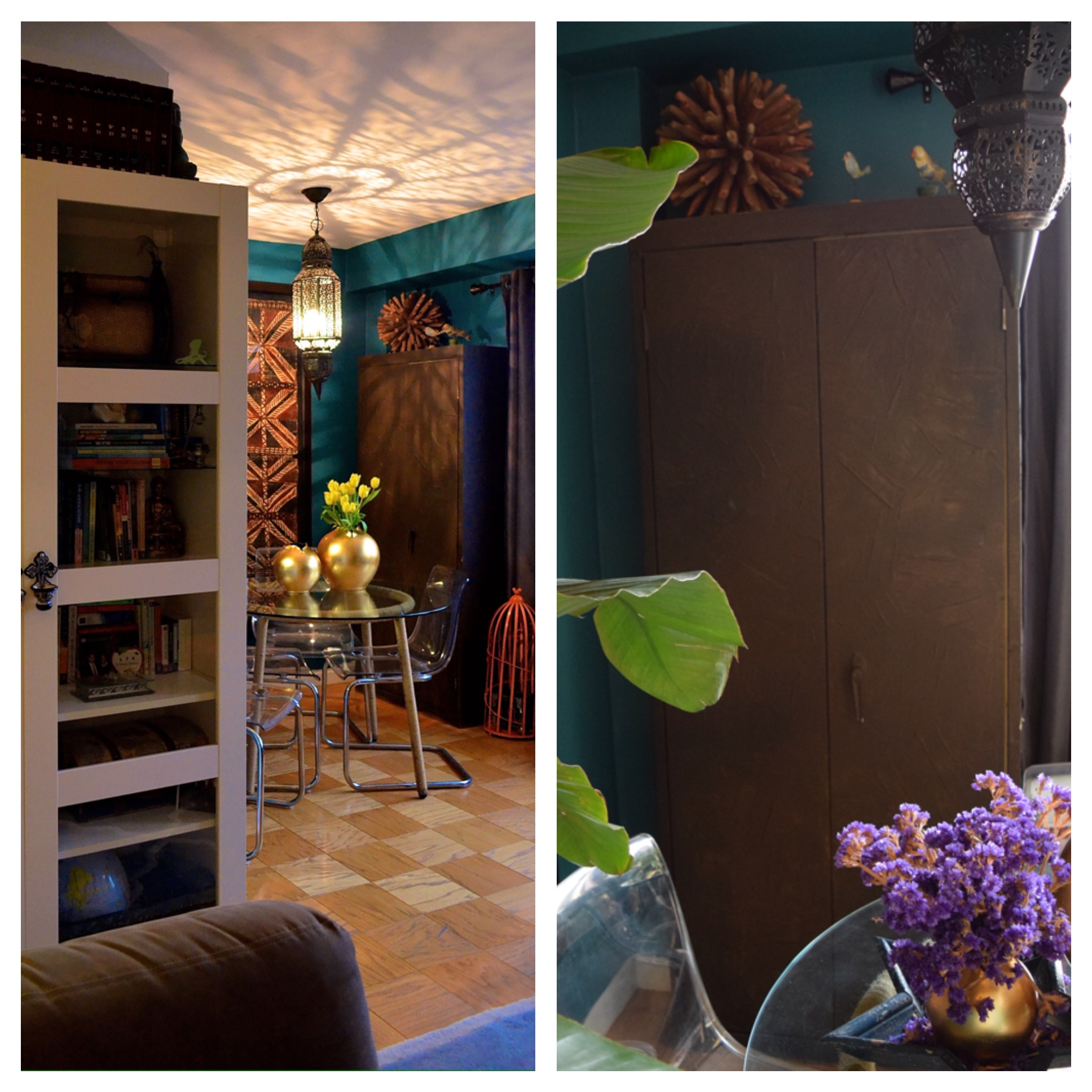 Left:   Peek-a-boo pic into the dining area where the storage cabinet now resides.   Right:   The cabinet beautifully blends into the rest of the decor and adds structure and storage to the dining area (as opposed to making it look like a garage).