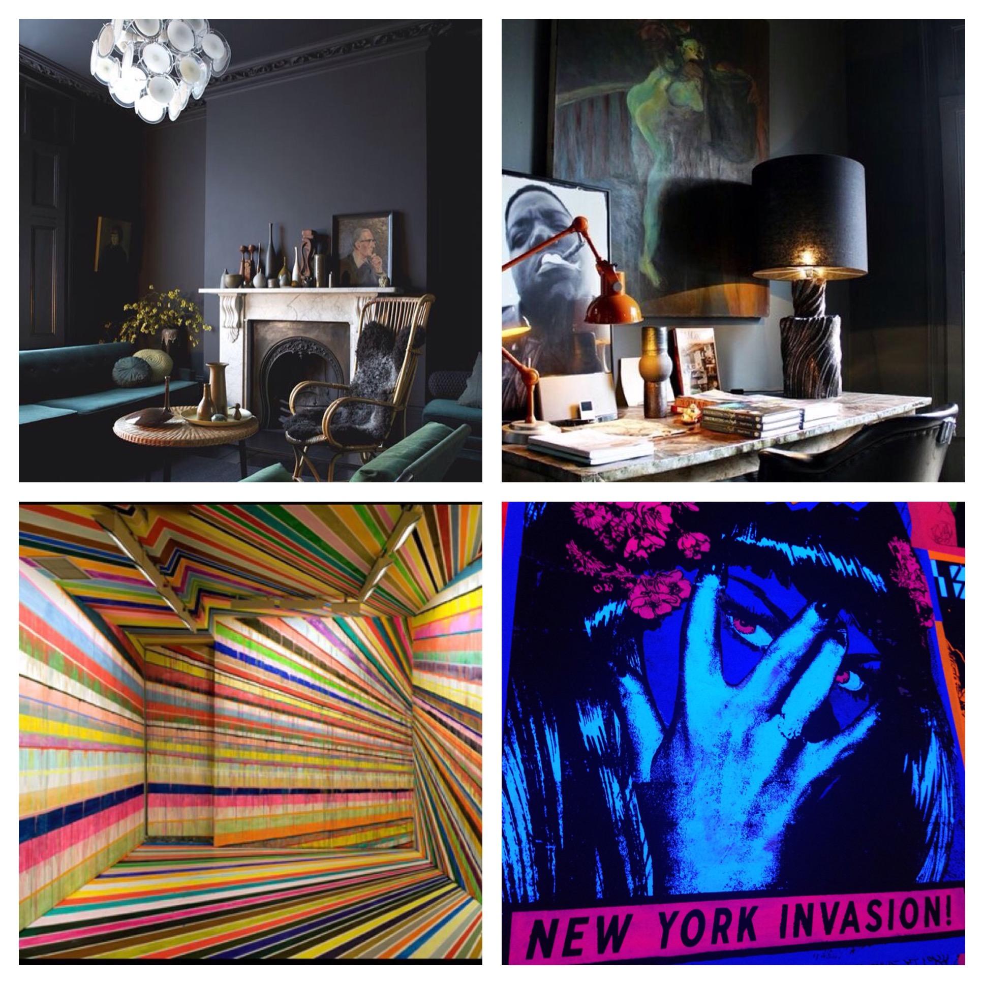 Top Left:  Credit- Graham Atkins Hughes   Top Right:  Designer Abigail Ahern    Bottom Left:  Artist Markus Linnenbrink            Bottom Right:  FAILE-Brooklyn Museum Exhibit