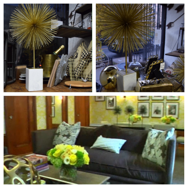 Top:  Starburst sculptures in Harlem Heirloom (actually called Sputnik on their website).   Bottom:  The home of NYC Housewife Aviva and the three Sputnik sculptures on the table behind the sofa. (Wish the pic was clear, bummer.)