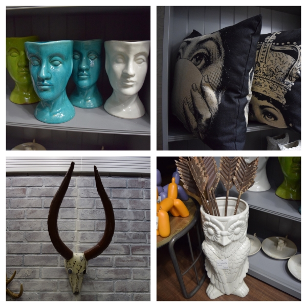 Top Left:  Head Planters... these planters can be used to hold anything. The owner of Harlem Heirloom Jammie said that one of his customers uses it as a bathroom garbage can. Great idea!   Top Right:  Check out these awesome throw pillows! Look into my eyes...  Bottom Left:  I am totally into antlers and there are various kinds to choose from at the store.  Bottom Right:  Owl Umbrella Holder