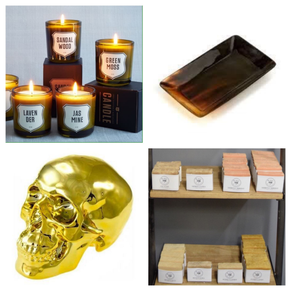Top Left:  Who wouldn't love receiving a scented candle as a gift?  Top Right:  Doesn't everyone need a small tray to hold things around the house? Put it in the entryway to hold your keys or on your desk for holding small items.  Bottom Left:  Golden Skull Bank, great decor to put on top of a stack of books as well as using it to collect your stray coins. Bottom Right:  Harlem Soap