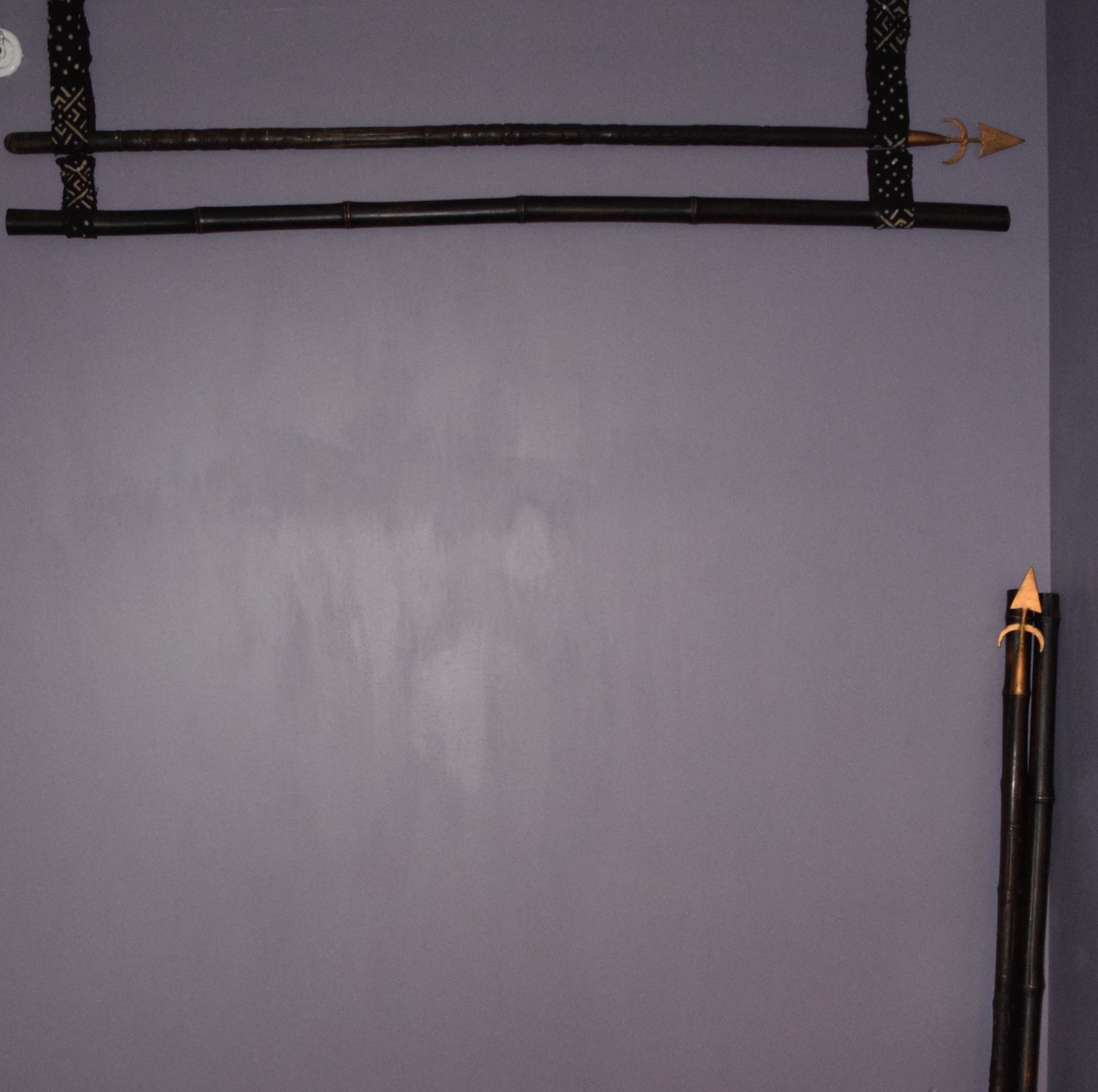I paired them with bamboo to see if I liked them in a group... Nope, these spears needed to be by themselves. (And the wall needed another coat of paint.)