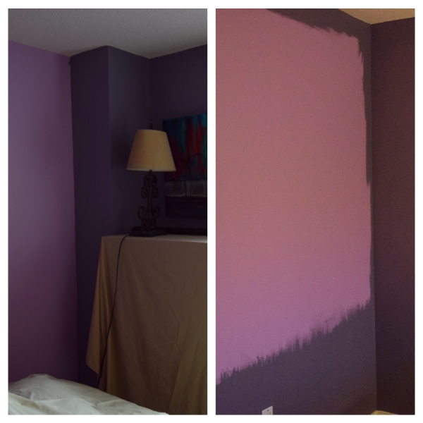 The old and new wall colors during the painting process.