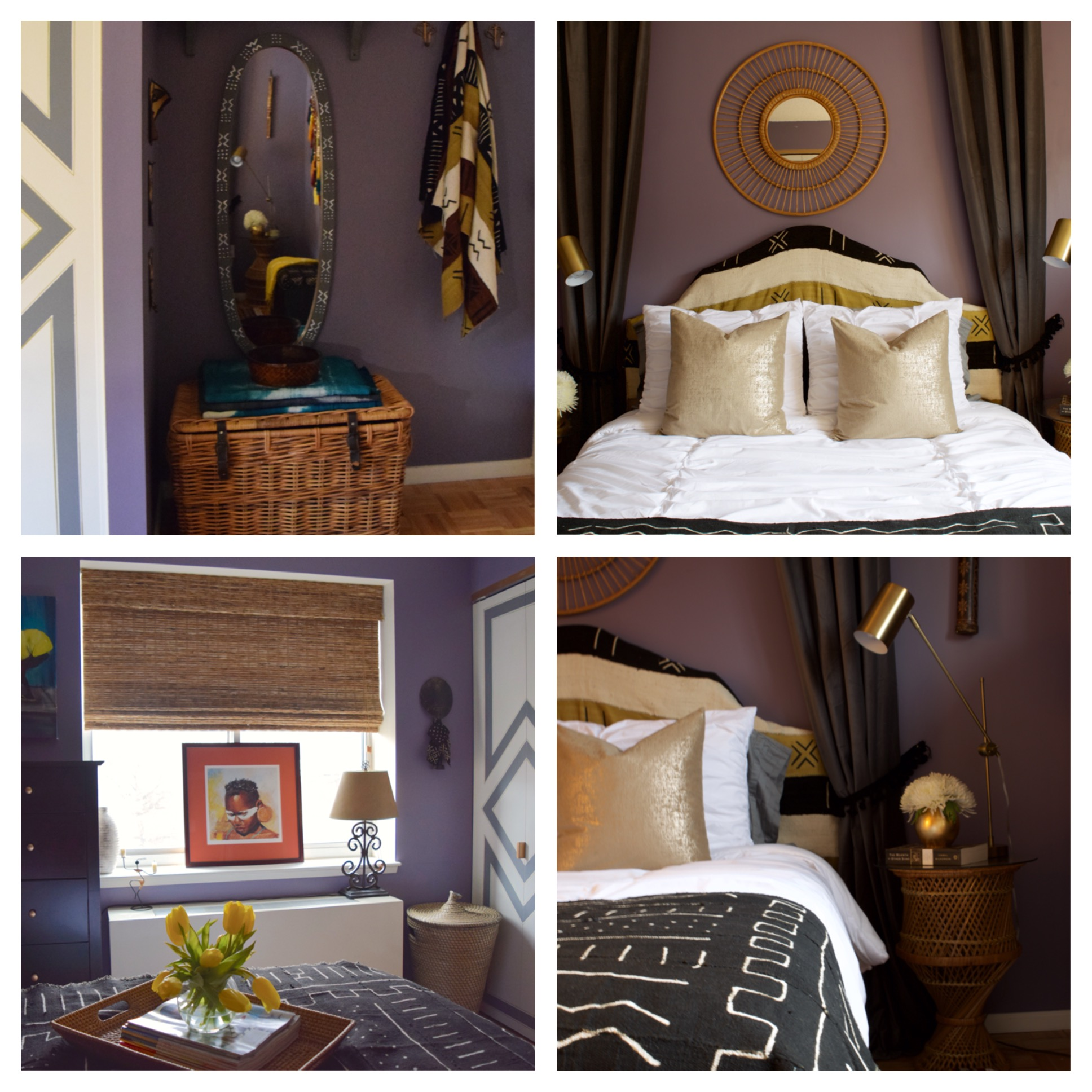Top Left:   Original rattan trunk in an area that before was dead and unused space.  Now the area has storage, a shelf for art and books (above the mirror), and hooks for hanging coats, bags or clothes.  In the before pics only the mirror was there.  Top Right:  Cool rattan mirror   Bottom Left:   Tray, basket and blinds bringing in more of that rattan, bamboo look.   Bottom Right:  Rattan side tables