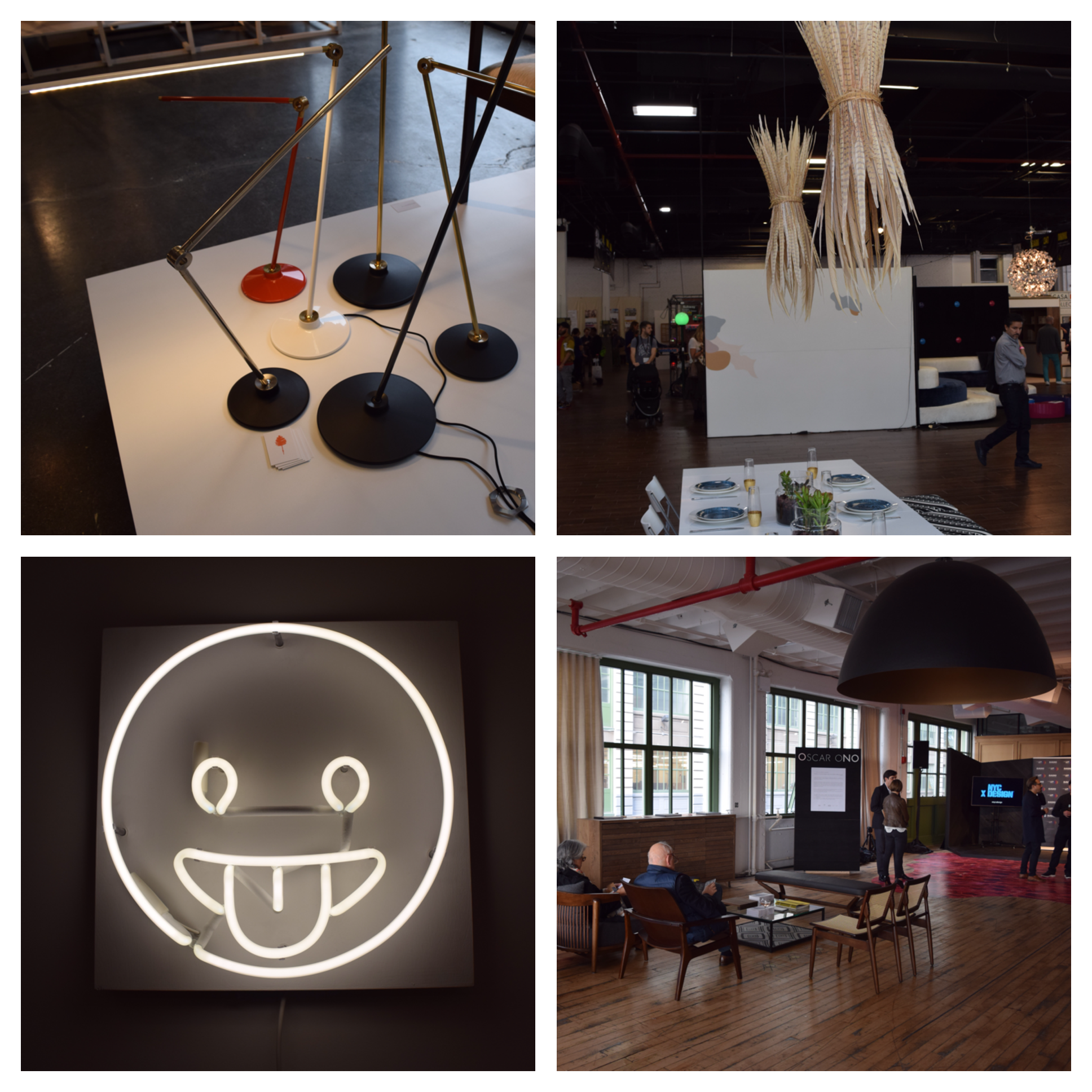 Top Left:  Modern and versatile desk lamp by  Juniper    Top Right:  Feather pendant lights by  LAAF     Bottom Left: Who doesn't love emojis? Sconce by  Alice Taranto    Bottom Right:  Large pendant light. Not sure who this is by but it's perfect for defining an area in a large loft space.