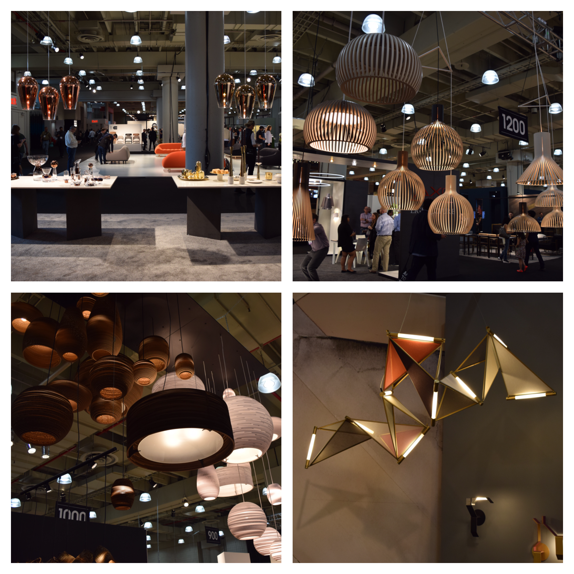 Top Left:  Fade Pendant in chrome, gold or copper by  Tom Dixon    Top Right:  These wooden pendants by  Seppo Koho are hand crafted from Finnish birch.   Bottom Left:  Hand crafted pendant lights made from recycled cardboard by  Graypants, Inc.    Bottom Right:  Incorporating geometric shapes and angles is designer  James Dieter  based in Brooklyn, NY