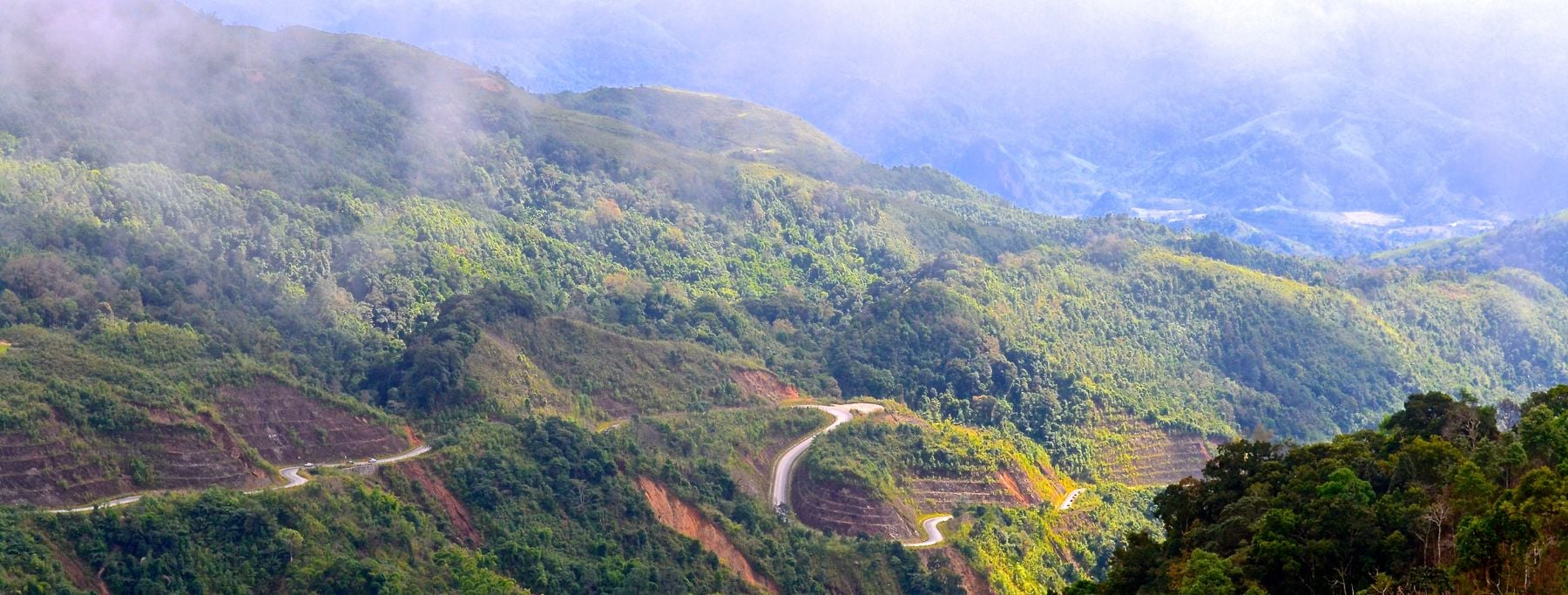 The stunning mountain path through the clouds -Laos