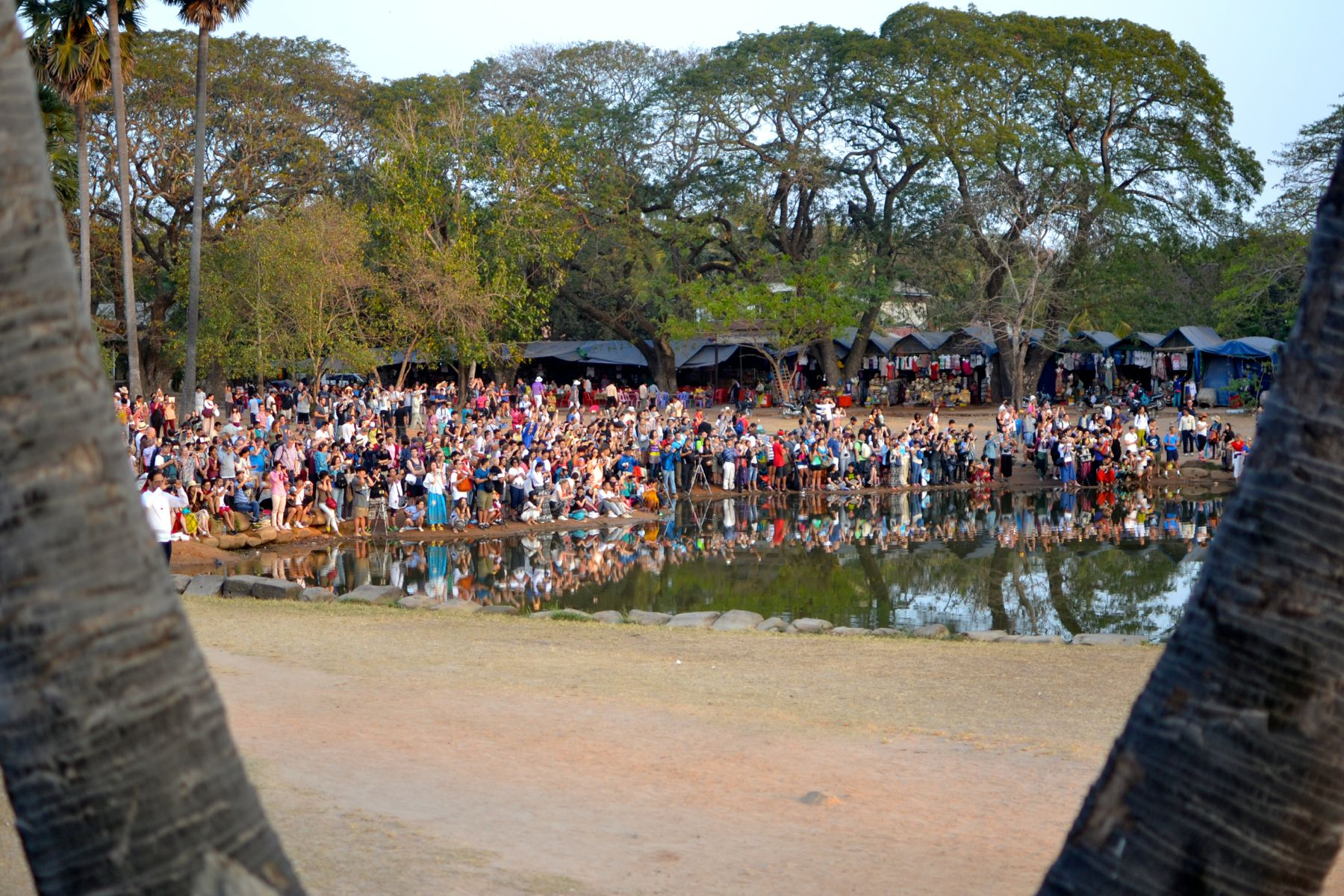 The similar people who wait for the sun to rise at Angkor Wat in Cambodia