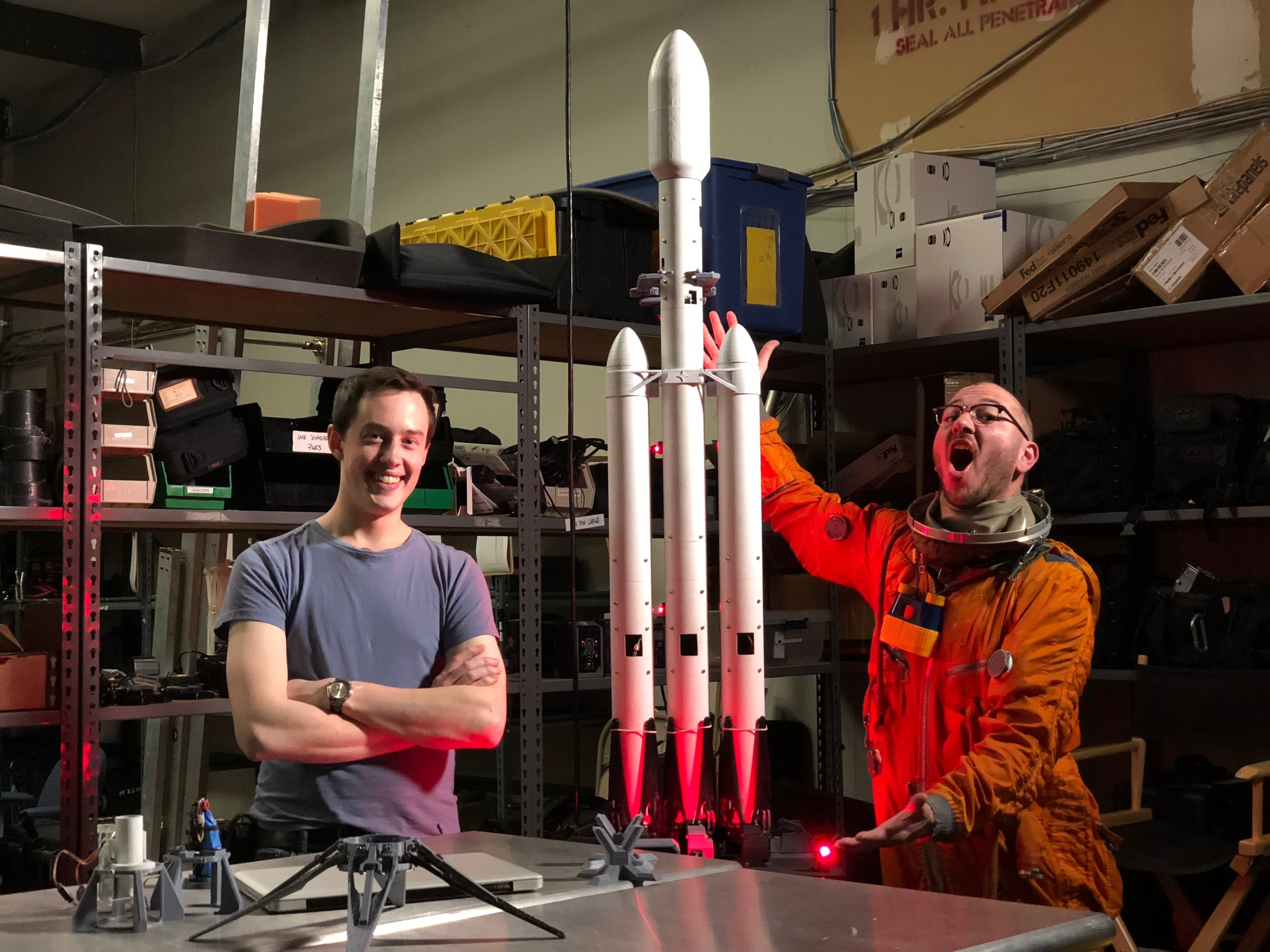 Myself, the Falcon Heavy model, and Tim Dodd, The Everyday Astronaut