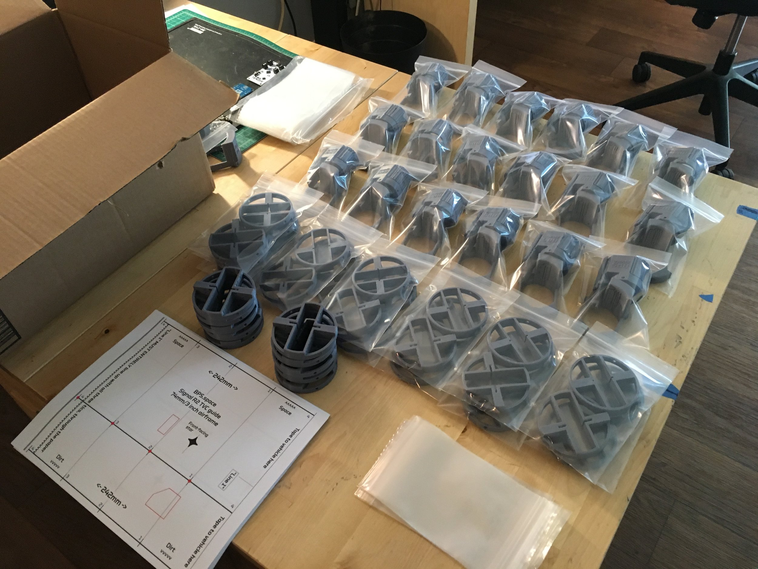 Packing up Signal R2 thrust vectoring kits for shipment