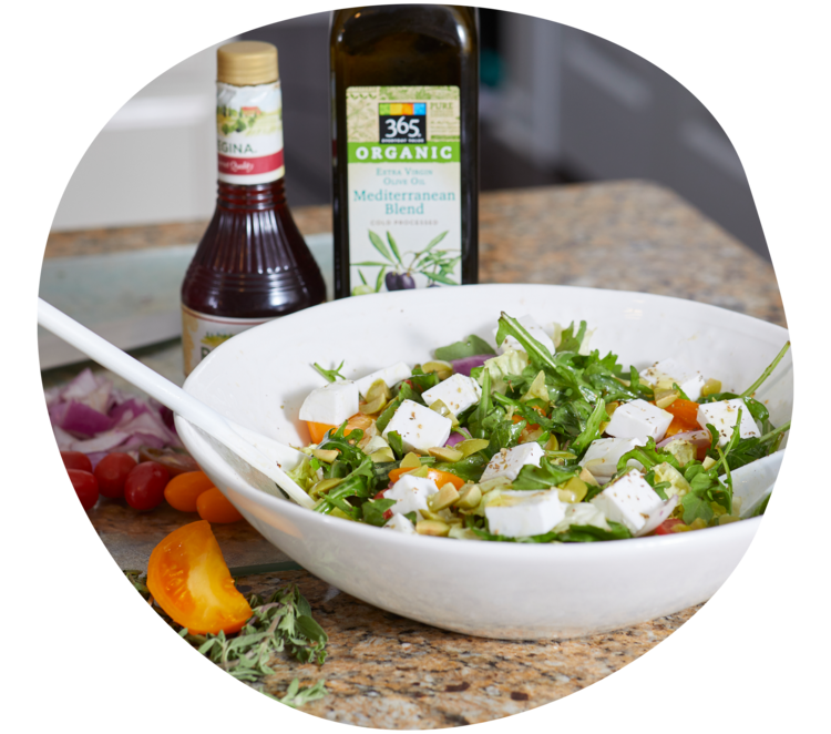 A colorful, healthy salad professionally prepared by A Perfect Plate home chef.