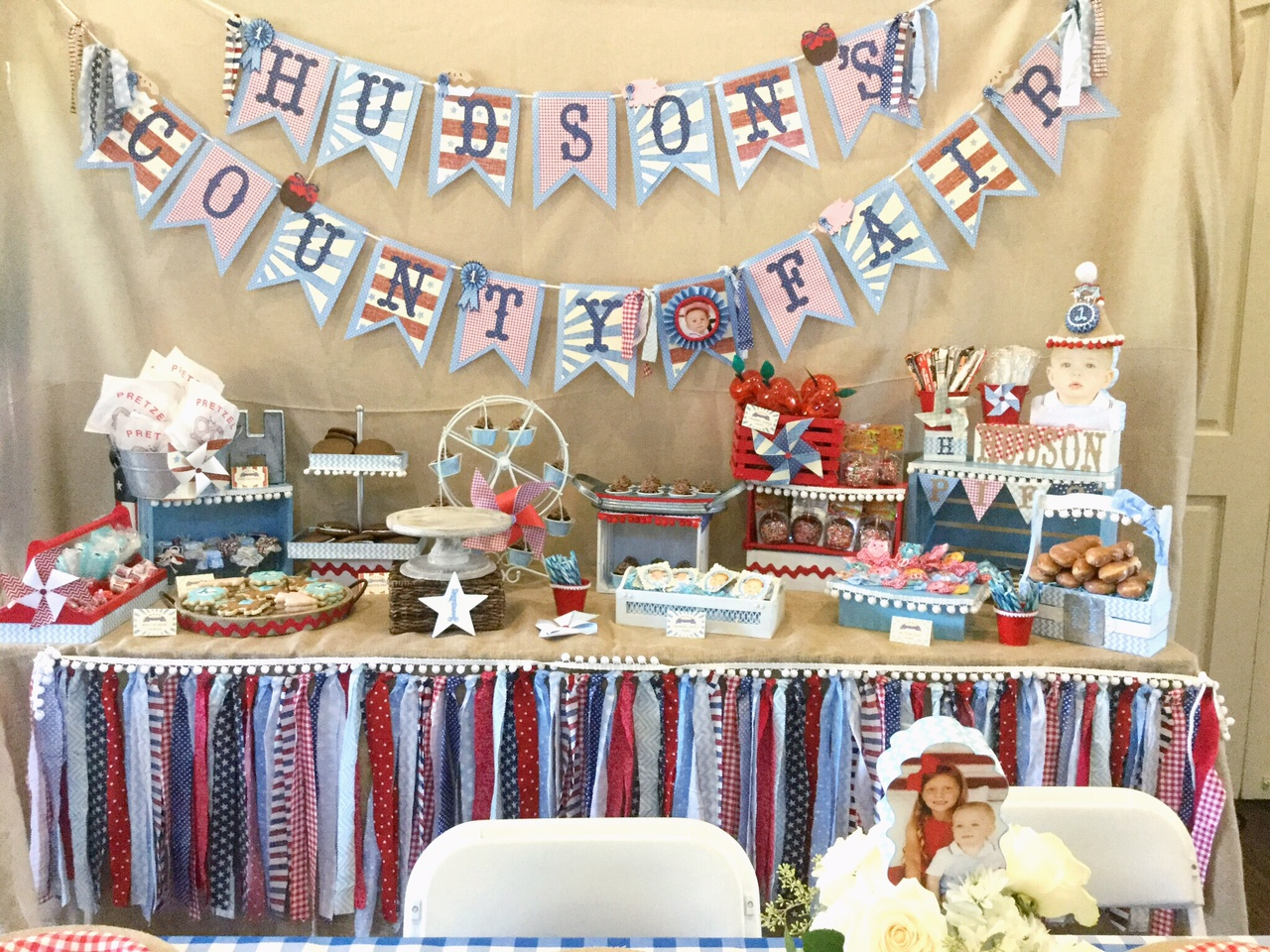 This dessert table was the focal point of the room and it was so cute! I had everything on there I could think of that that was fair-related-- mini apple pies, whoppee pies, donuts, soft-pretzels, sugar-cookies, cupcakes, candy, caramel apples, and the yummy cake!