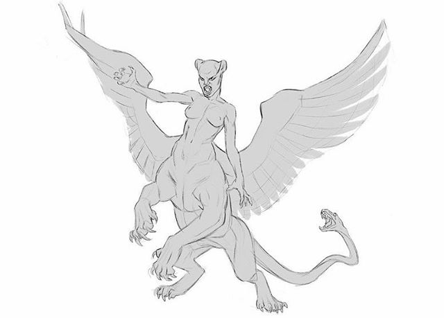 #conceptart #artoftheday #sketch #Sphinx #fantasy #creaturedesign playing with proportions and shapes for this mythical creature- how much was lion vs human