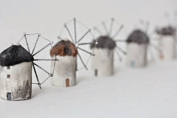 Laurie Poast. Windmills of Holland, 2010. Clay, pigment, and steel.