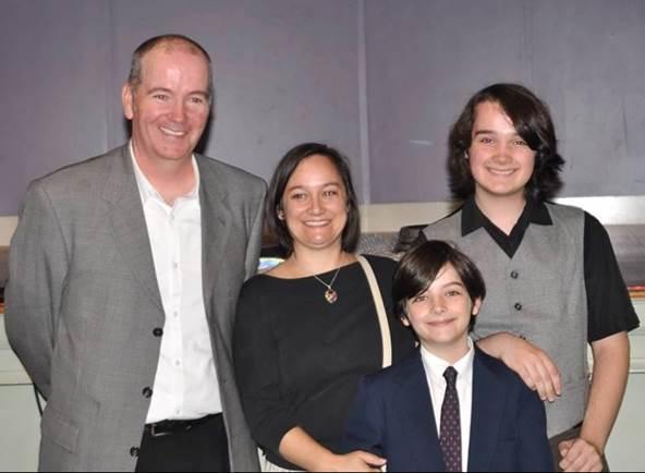 Brian with his wife Sara and sons Brennan and Aidan
