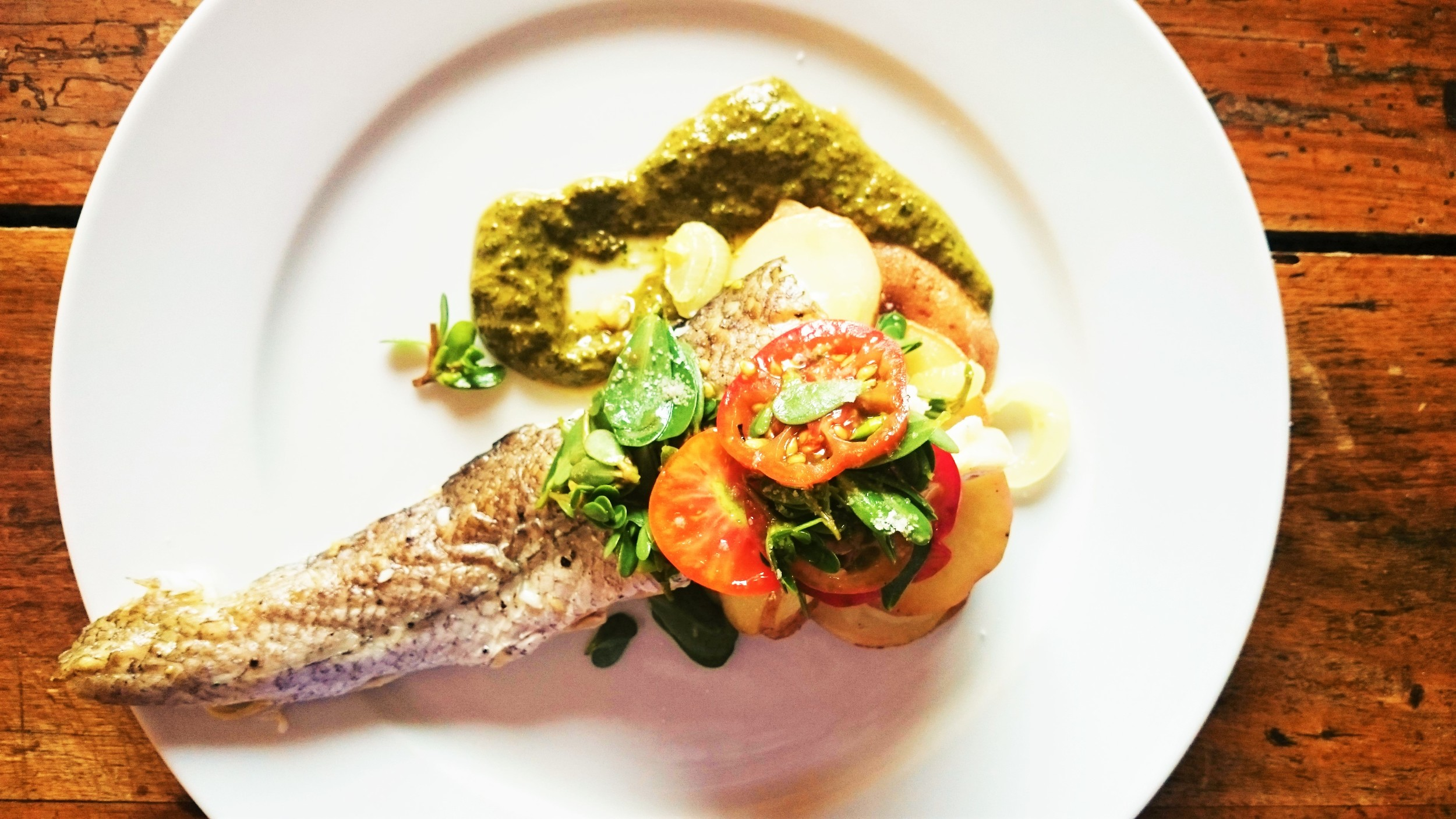 LUNCHTIME | Baked crispy-skin Hake with garden chimichurri, potatoes au gratin and micro-salad of purslane and summer tomatoes with lemon vinaigrette [and every single ingredient came out of the garden at the house and yes, the fish is local as well, and yes, I cooked this].