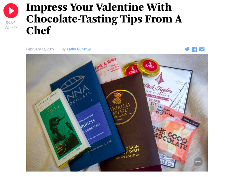 We were delighted to hear Enna Chocolate mentioned on National Public Radio!  You can hear the episode here .
