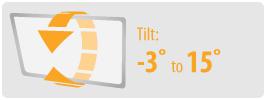 Tilt: -3° to 15°   Medium TV Wall Mount