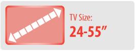 """TV Size: 24-55""""   Medium Ceiling TV Mount"""