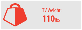 TV Weight: 110 lbs   Medium Ceiling TV Mount