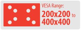 VESA Range: 200x200 to 400x400   Medium Ceiling TV Mount